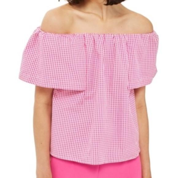 43a714cfadea9f Topshop Tops | Nwt Pink Gingham Bardot Off Shoulder Top | Poshmark